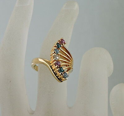 Vintage Gold Plated Fan Shape Ring,multi Colored Rhinestone Size 7 1/2