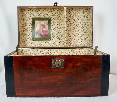 Antique Small Steamer Trunk Dome Top Camelback/Restored/with tray