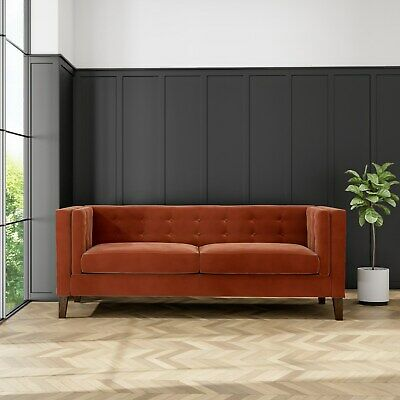 Bailey Burnt Orange Velvet 3 Seater Sofa  SOF024
