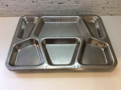 Vintage WWII Stainless Steel Mess Food Trays (5 Pc Set) Vollrath Sectioned Heavy