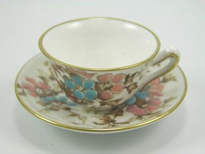 Antique Crown Staffordshire porcelain miniature tea cup & saucer flowers 31