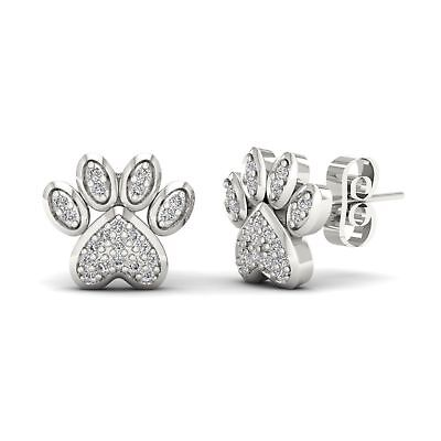 925 Sterling Silver 0.50 Ct Round Cut Diamond Heart Shape Halo Charming Earrings