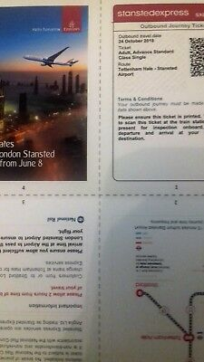 Stansted Express tickets x2,Tottenham Hale to airport valid on 24th of October