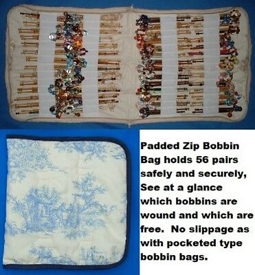 A  Padded Zip Bobbin Bag Holds 56 Pr Safely And Securely Toile De Jouy Pattern