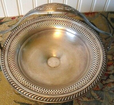 Antique 1913 F B Rogers Silver^copper Pierced Footed Basket*handled~Fruit*brides