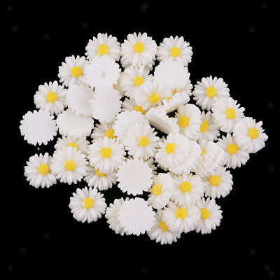 50pcs DIY Resin Flatback Cabochon Beads Daisy Flowers Charms For Phone/Craft