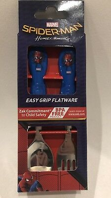 Kids Boys Spiderman Cutlery Set Easy Grip Flatware Spoon & Fork by zak BNWT