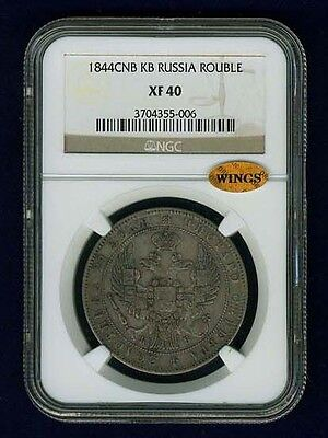 Russia  Nicholas I  1844-Cnb-Kb  1 Rouble Silver Coin, Ngc Certified Xf40