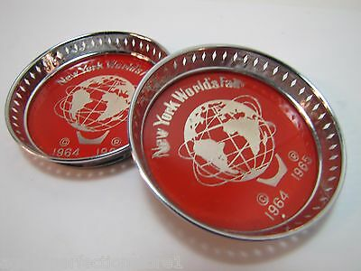 1964 1965 New York World's Fair Unisphere Coasters NYWF red chrome tray coaster