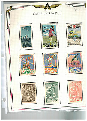 Stunning Lot Italy 1911 to 1939 Special Airmail Labels Hinged