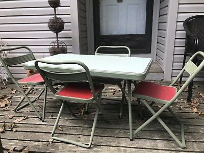 VTG Hampden Kids Folding Table And Chairs, Mid Centry Table, Kids Size, Formica