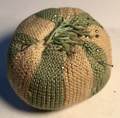 "Vintage Hand Made Crocheted Green and White Pin Cushion 2 1/2"" Wide"