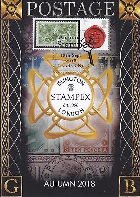 Autumn STAMPEX 2018 - Post Card with Smilers Stamp Label FDC, Maxi Card