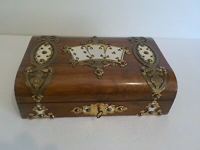 19th C. English Walnut Playing Card / Games Box, Engraved Pierced Brass Trim
