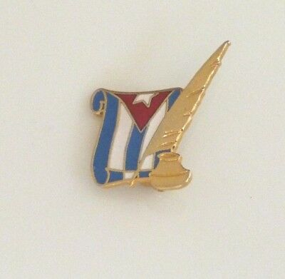 Cuban flag w/ ink pen well tie lapel hat pin historical independence Cuba vtg