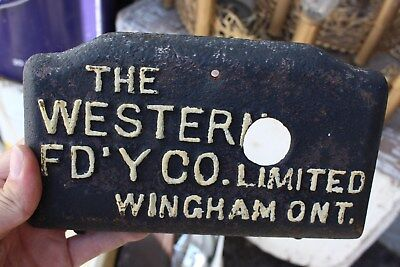 Antique 1910's Western Foundry Co Winghamd Ontario Cast Iron Advertising Plate