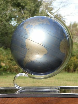 "Vintage Mid Century Modern Lucite Base Replogle Diamond Marquise 12"" World Globe"