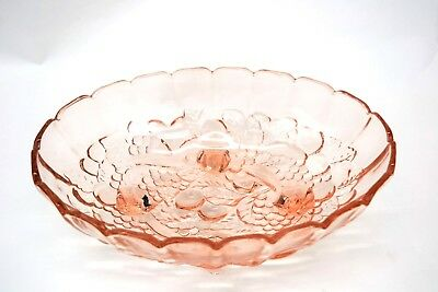 Vintage Pink Depression Indiana Glass Intaglio Fruit Bowl Large Oval Footed (CH)