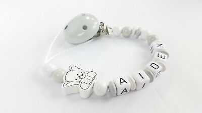 Personalized pacifier clip Binky holder Wooden baby name gift White gray