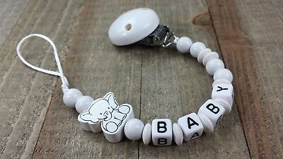 Personalized pacifier clip Binky holder Wooden baby name gift White Elephant