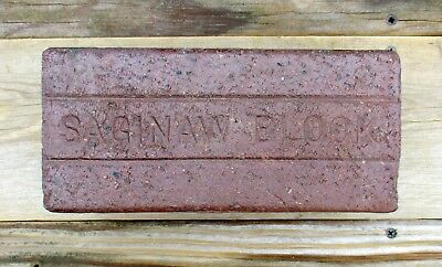 Antique Saginaw Block Paving Brick Original 1894 ~ 1917 Historical & Collectible