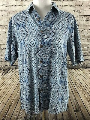 b5e27604b26b7a Mens Blue Diamond Patten 100% Silk Beach Shirt Camp Island Republic M Medium
