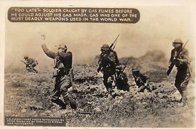 RPPC Soldier Caught By Gas Fumes WWI Gas Masks Army ca 1910s Vintage Postcard