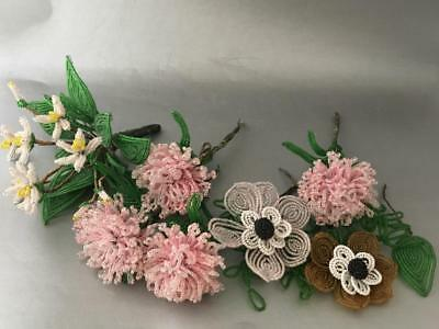 Vtg Lot French Hand Made Beaded Glass Seed Bead Flower Stem Bouquet