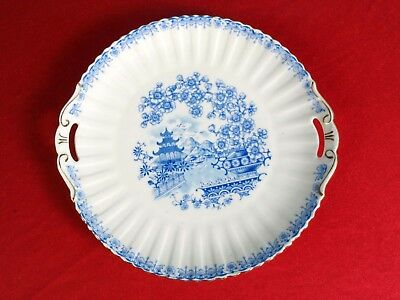Antique Blue White Gold 18th century platter peonies handles pagoda
