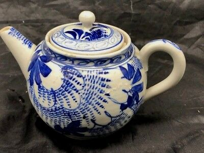 Chinese Blue And White Export Porcelain  Mini Teapot Unglazed Base With Strainer