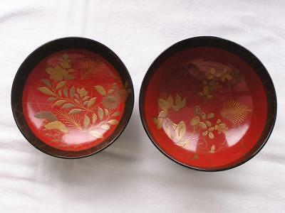 Antique Japanese lacquer chawan with floral decoration 1900-12 handpainted #4226