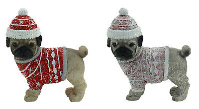 Pug Dog Xmas Figurine Ornament Set of 2 Approx 6x6cm