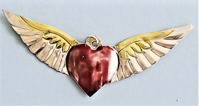 Punched tin painted heart with wings, ornament, Miligro