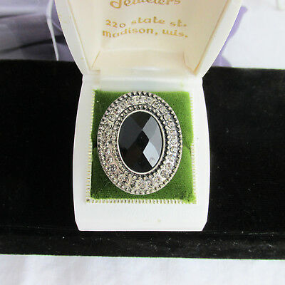 Vintage Oval Black Glass Cabochon Rhinestone Cocktail Statement Ring Size 9