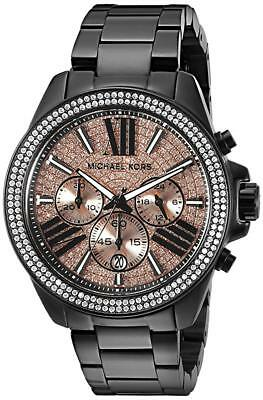 New Michael Kors Wren Black Rose Chronograph Womens Glitz Stainless Watch MK5879