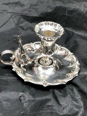 English Silverplate Chamberstick With Attached Snuffer, Arts And Crafts Design