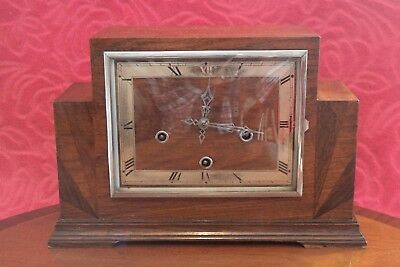 Vintage Art Deco English 10-Day Mantel Clock with Westminster Chimes