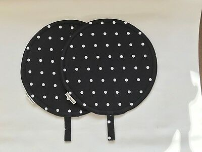 Aga Type Chef Pads, PAIR, Black and White Spot,100% cotton, washable