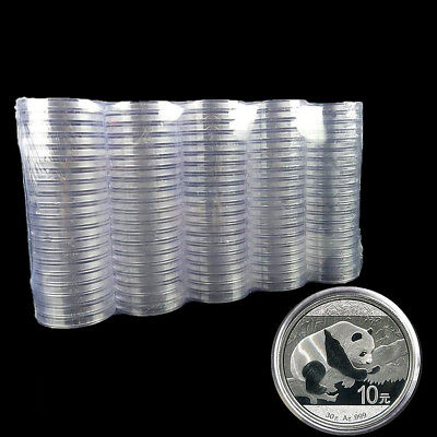 10PCS 40mm Clear Round Cases Coin Storage Capsules Applied Holder Round Box Lot