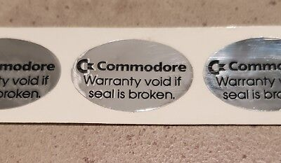 C= Commodore warranty is void if seal is broken, OEM sticker x3