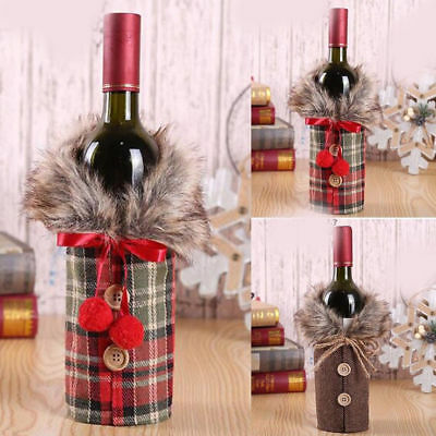 Christmas Wine Bottle Cover - Bowknot Xmas Party Decor Bag - Table Dinner Gift