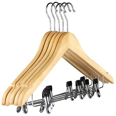 The Hanger Store™ Wooden Suit Coat Hangers, With Clips Bar & Notches