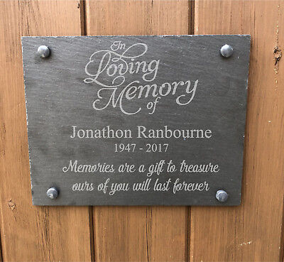Personalised For Your Loved One - Rustic Slate Memorial Grave Marker Sign Plaque