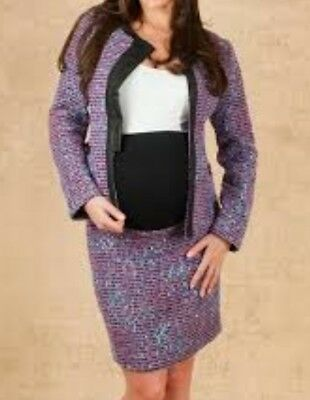 CHENAI FRASER Two Piece Wool Blend Purple Tweed Maternity Suit Size XL 16/18 N1