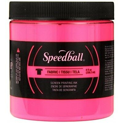 Speedball Art Products Fluorescent Fabric Screen Printing Ink, 8 Oz, Hot Pink -