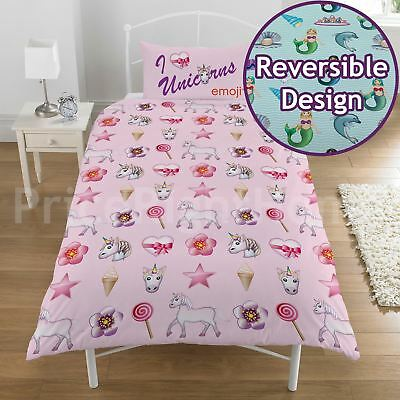 Emoji Unicorn & Mermaid Single Duvet Cover Set Pink Turquoise - 2 In 1 Design