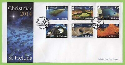 St Helena 2014 Christmas. Marine Life set on First Day Cover