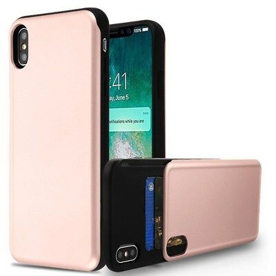 Rose Gold/Black Hidden Cards Protective Phone Case Cover for Apple iPhone XS Max