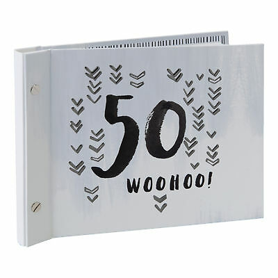Grey 50th Birthday Guest Book With Photo Album Gift boxed Luxe by Hotchpotch