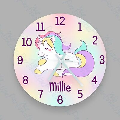 Childrens Personalised Unicorn Glass Clock Unicorn wall clock -Add a name